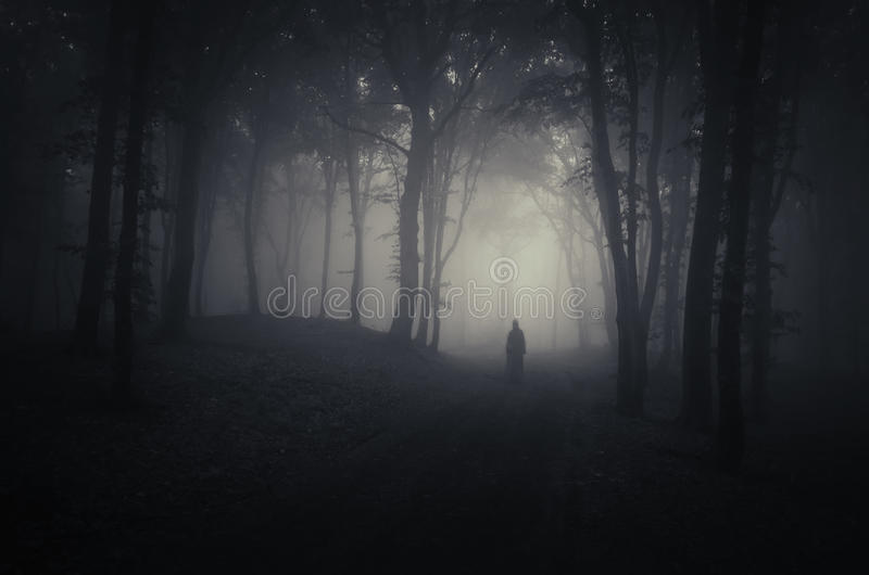 Ghost in a dark spooky forest on Halloween stock images