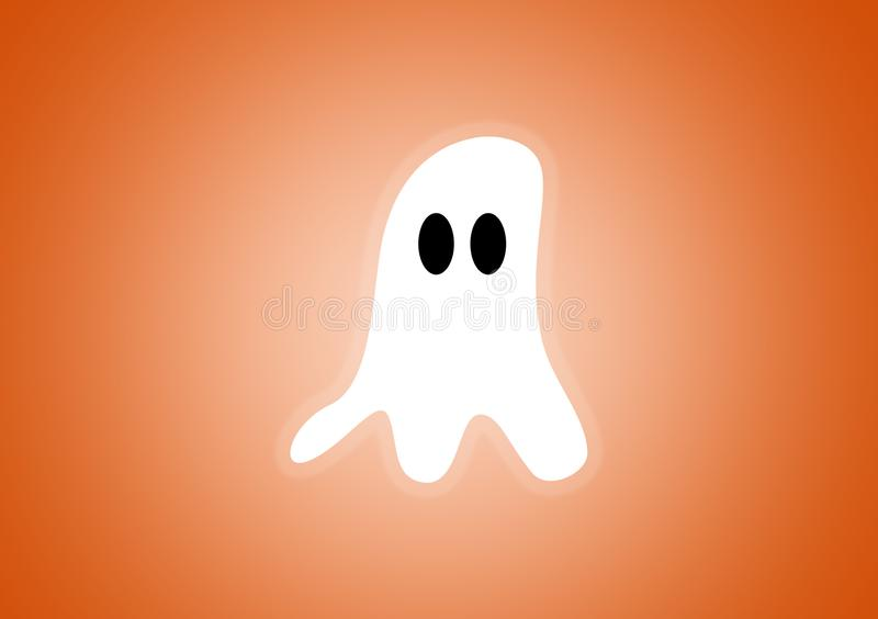 Ghost digitally illustrated on orange background. For Halloween use as wallpaper vector illustration
