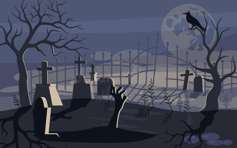 Ghost e zombi no fundo assustador de Dia das Bruxas ilustração do vetor