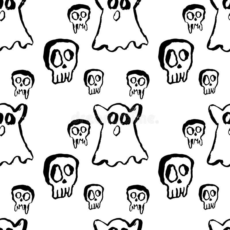 Ghost et modèle sans couture de crâne Illustration s?che grunge moderne de vecteur de brosse illustration de vecteur