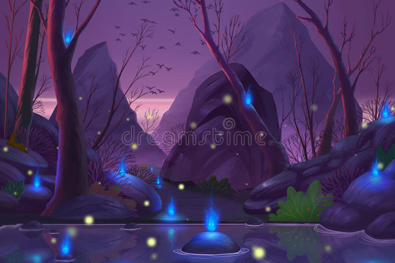 Ghost Forest. stock illustration
