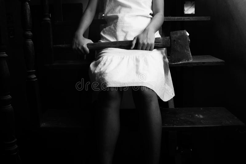 Ghost Girl In Haunted House royalty free stock images