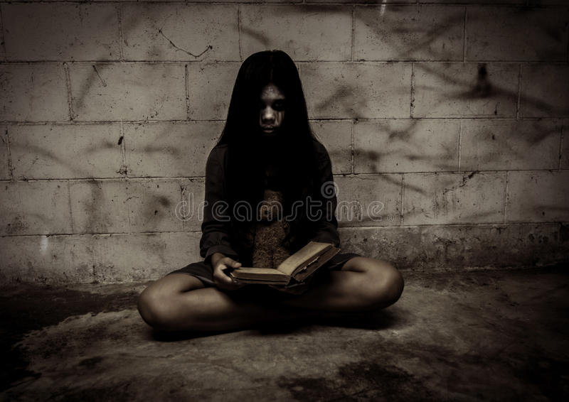 Ghost. Girl,Horror background for halloween concept and book cover ideas stock photography