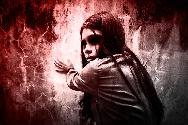 Ghost girl. Horror background for halloween concept and book cover ideas royalty free stock image