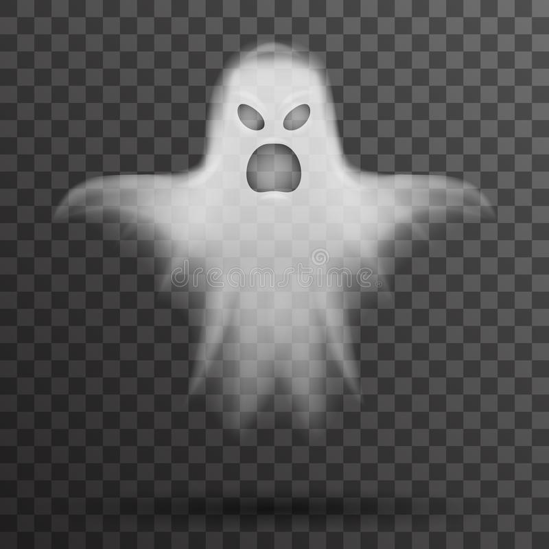 Ghost halloween white scary isolated template transparent night background vector illustration vector illustration