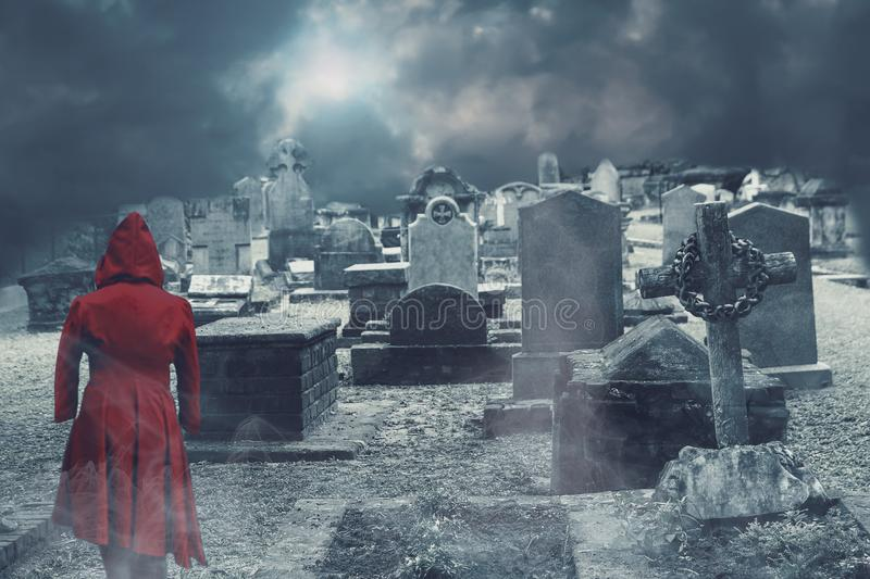 Ghost on haunted cemetery royalty free stock photography