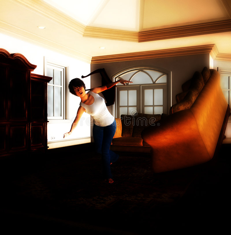 Ghost House 22. A house that is being haunted by a poltergeist stock illustration