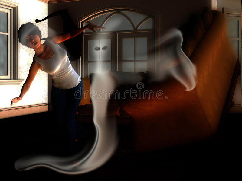 Ghost in The House. Ghost haunting the interior of a house stock photography