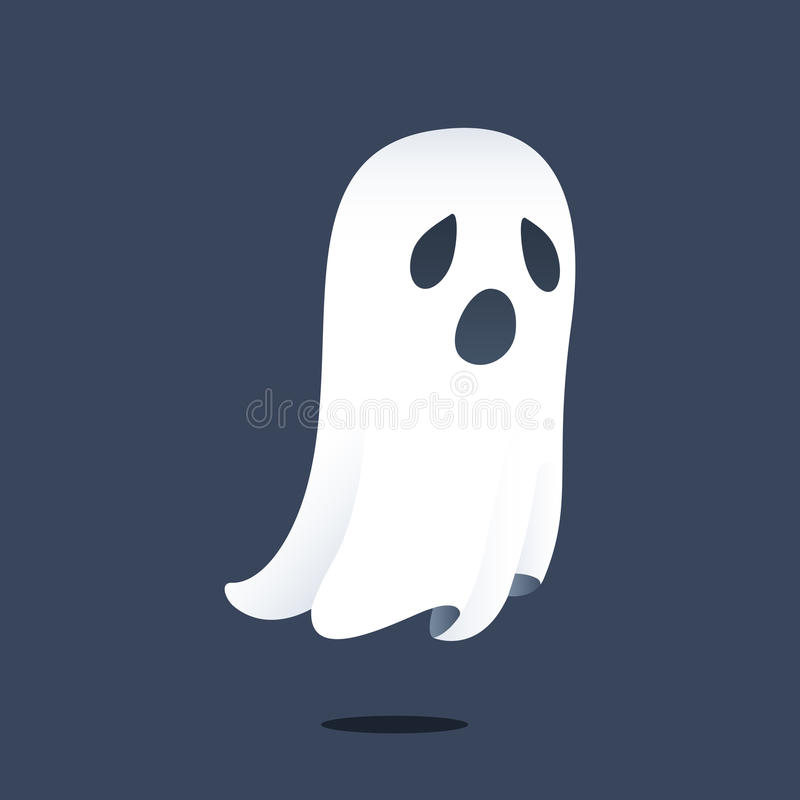 Ghost. Illustration depicting a sad ghost floating above the ground royalty free illustration