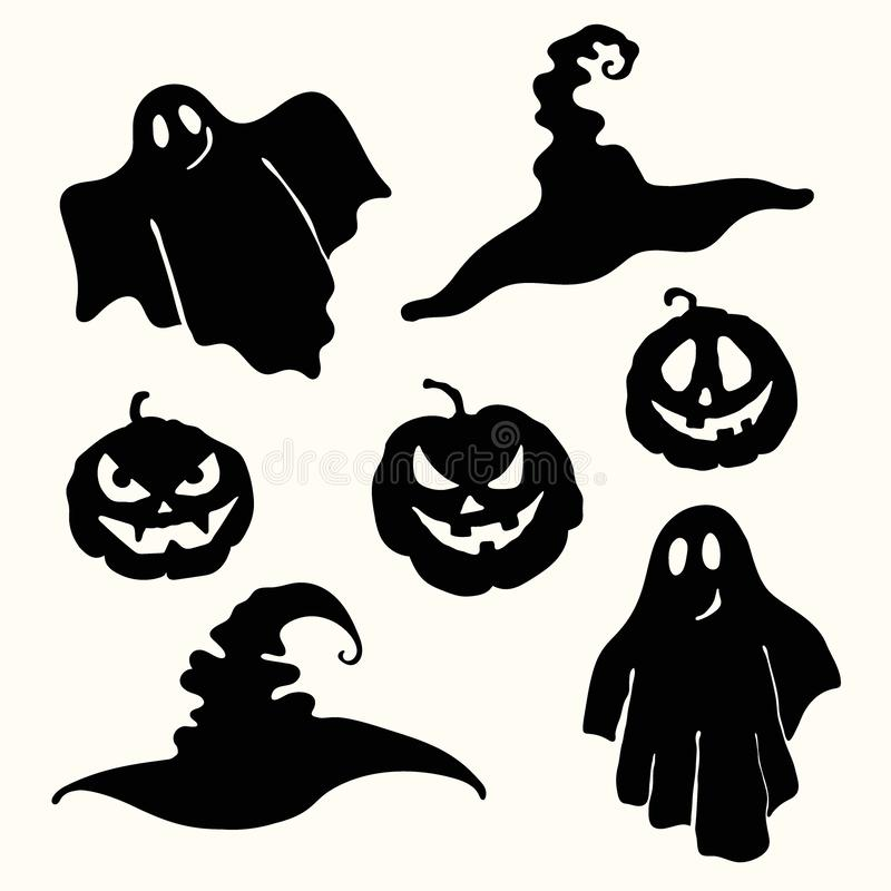 Ghost, lanterna da abóbora e estêncil do chapéu da bruxa no branco ilustração stock