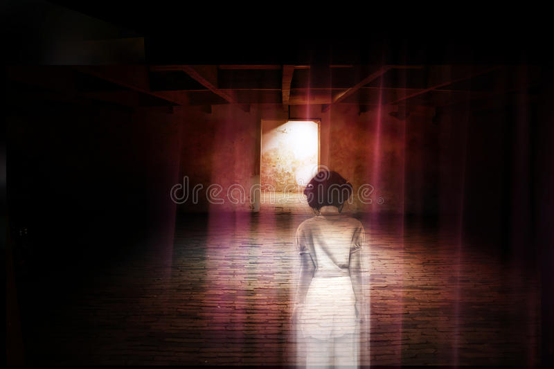 Ghost little girl appears in old dark room, child is confined to death. Ghost little girl appears in old dark room, ghost in haunted house, child is confined to royalty free stock photography
