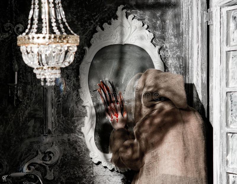 Download Ghost with a mirror stock image. Image of door, human - 34076099
