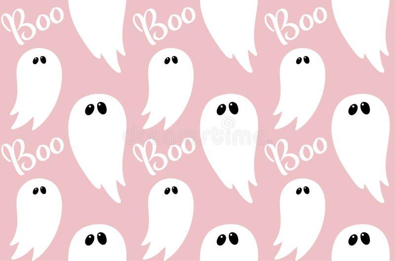 Ghost naadloos op roze met handgetekende tekst Boo voor kinderen halloween party paper, feestelijke viering vector illustratie