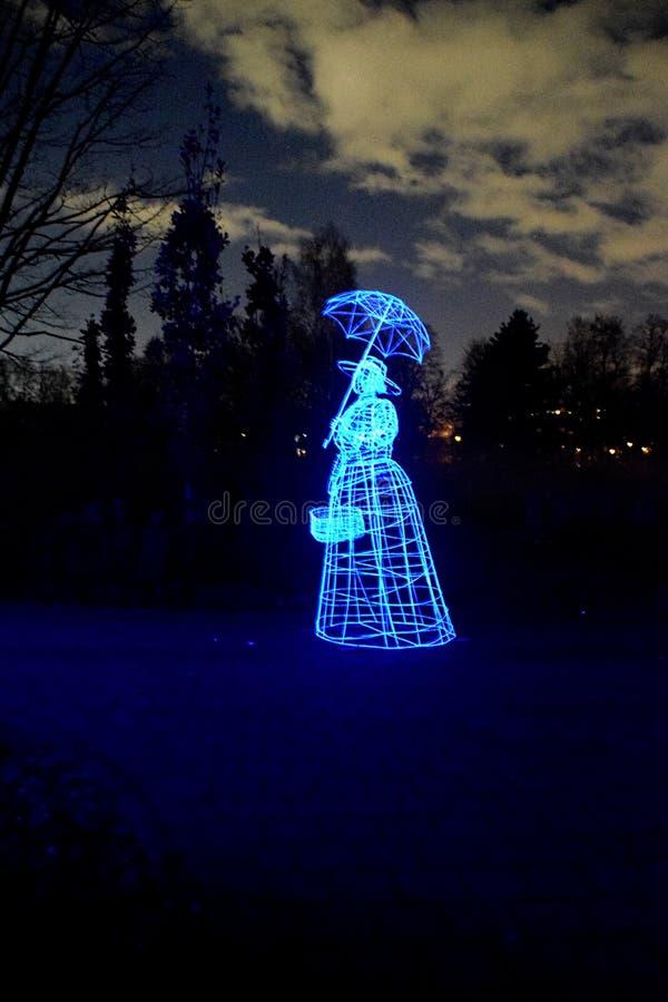 Ghost at night. Ghost woman walking at dark night. haloween scenery stock photo