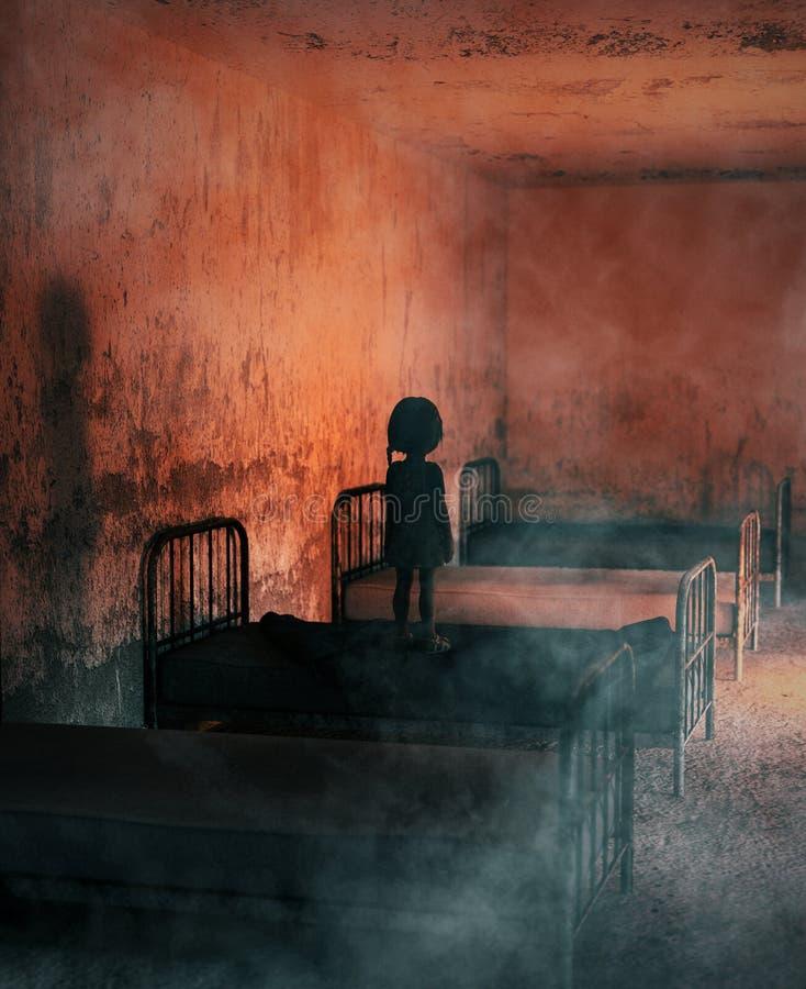Ghost no hospital abandonado ilustração stock