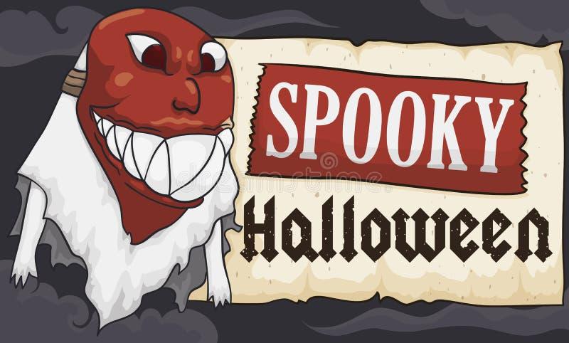 Ghost portant un masque effrayant pour la célébration de Halloween, illustration de vecteur illustration stock