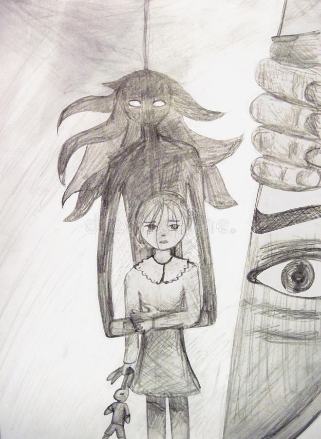 Ghost protects the girl from the killer. Children`s artwork royalty free illustration