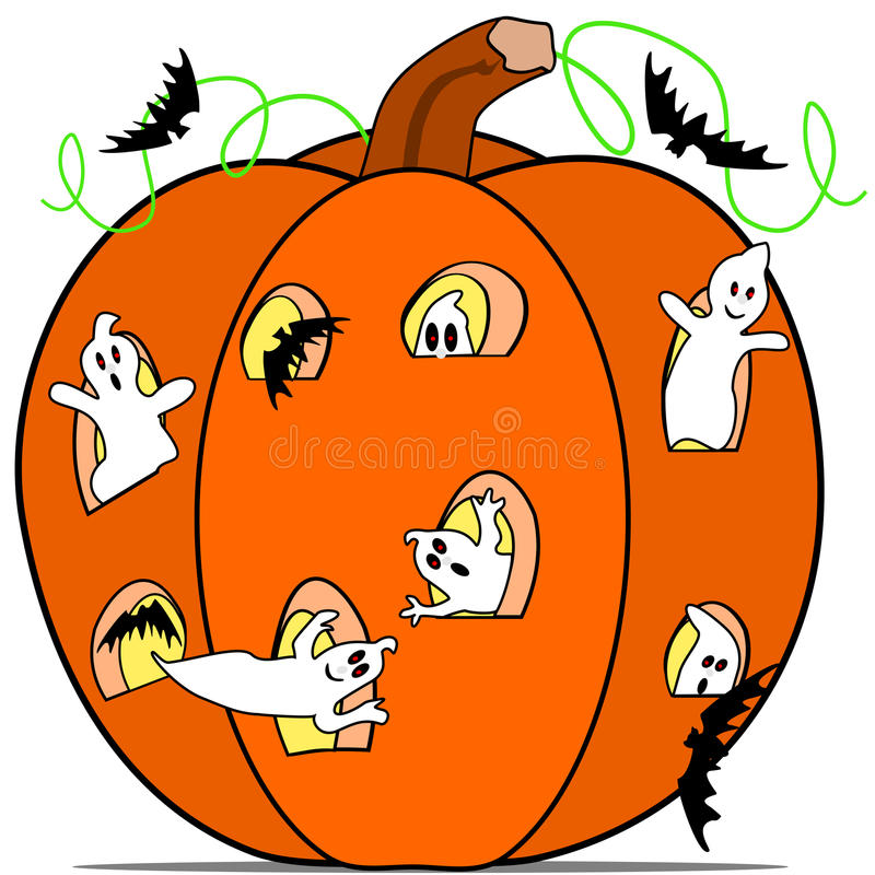 Download Ghost in the pumpkin stock vector. Image of october, ghost - 26922745