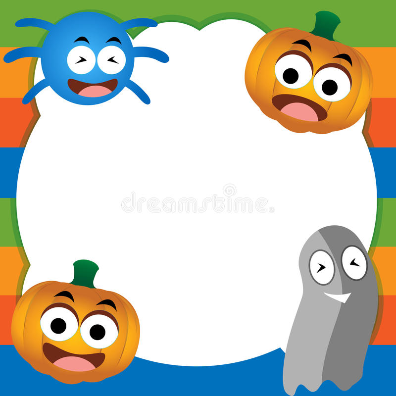 Ghost, pumpkin, and spiders. Happy Halloween card.illustration in vector format royalty free stock images