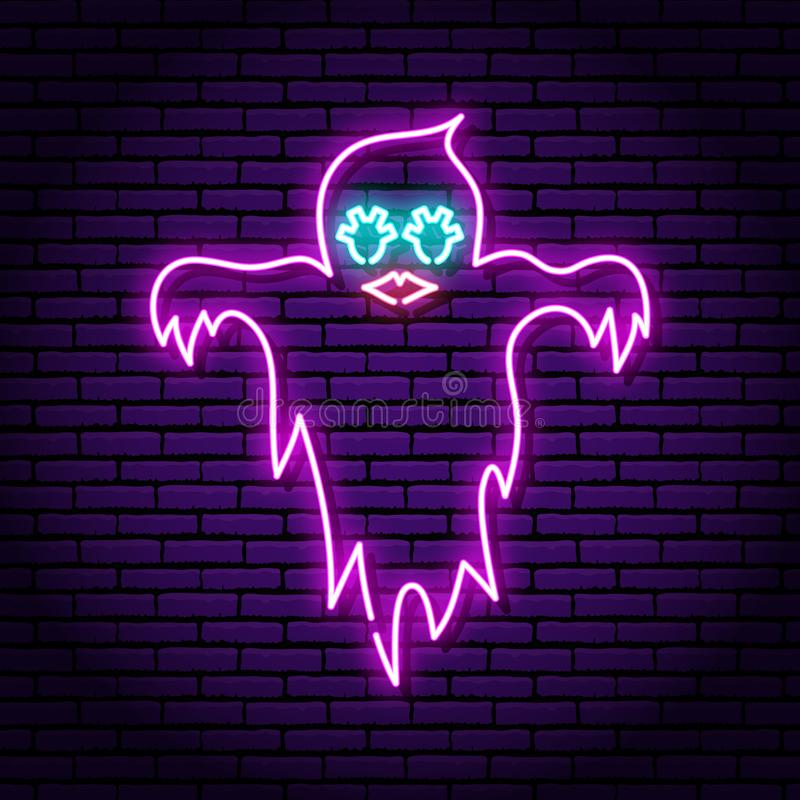 Ghost purple neon sign. Against the background of a brick wall. Eyes and lips of a girl vector illustration