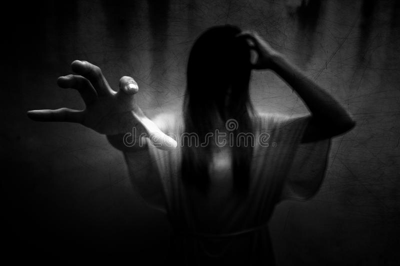 Ghost. Scary ghost woman in Haunted House,Horror background for book cover stock image