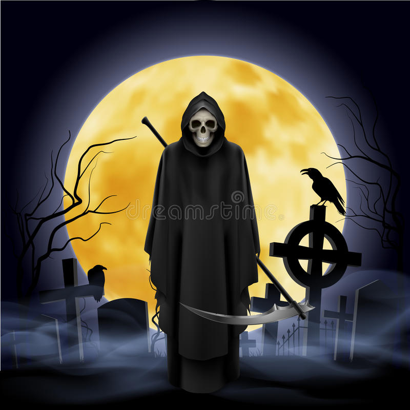 Ghost with a scythe stock illustration