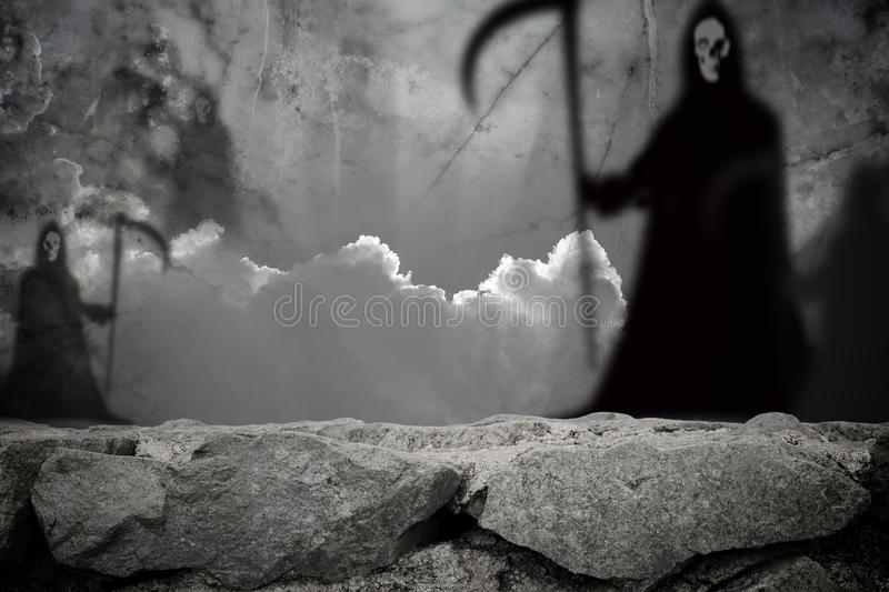 Ghost shadow blur standing in stone wall stock photos