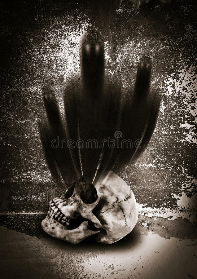 Ghost. Shadow of spirits from head bone royalty free stock photo