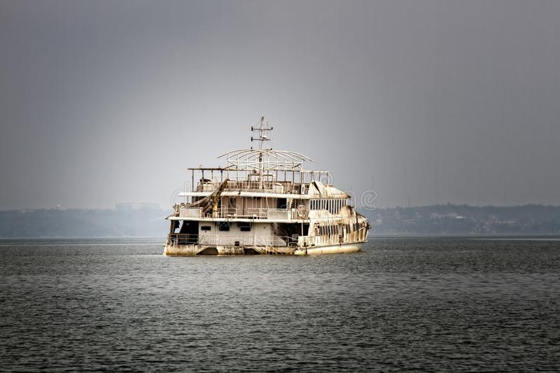 Ghost ship in Bay of Arabian sea stock images