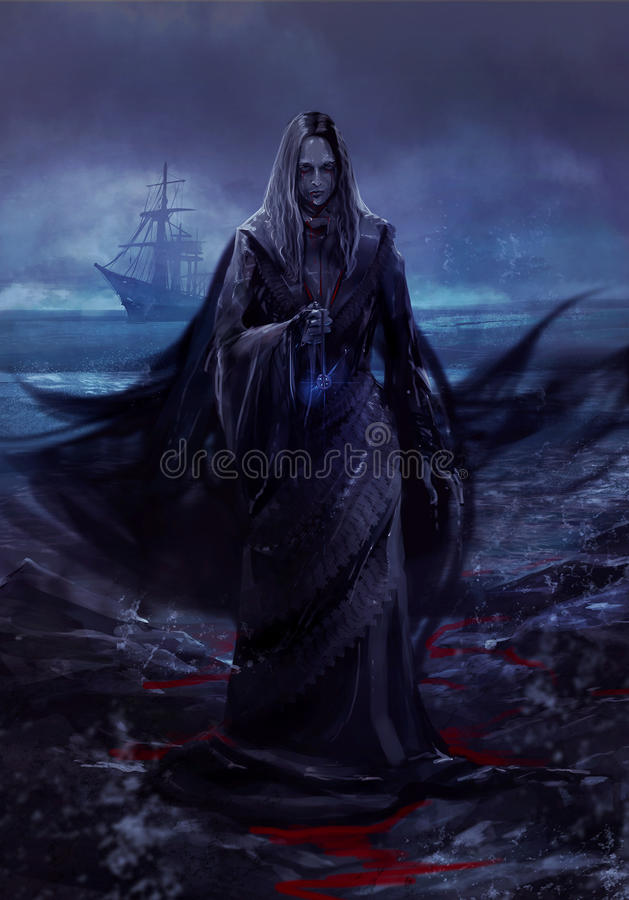 Ghost ship lady stock illustration