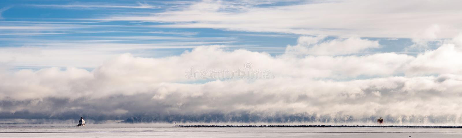 The Ghost ship in the mist stock photography