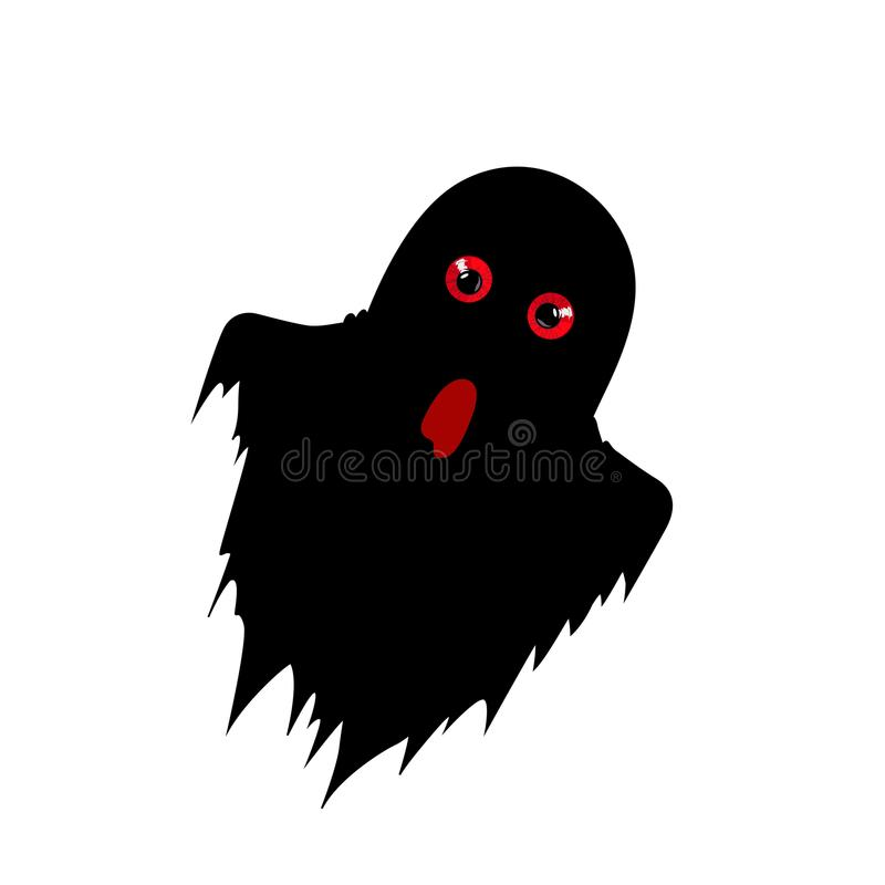 Free Ghost Silhouette With Predatory Red Eyes Isolated On White Stock Photos - 102826763