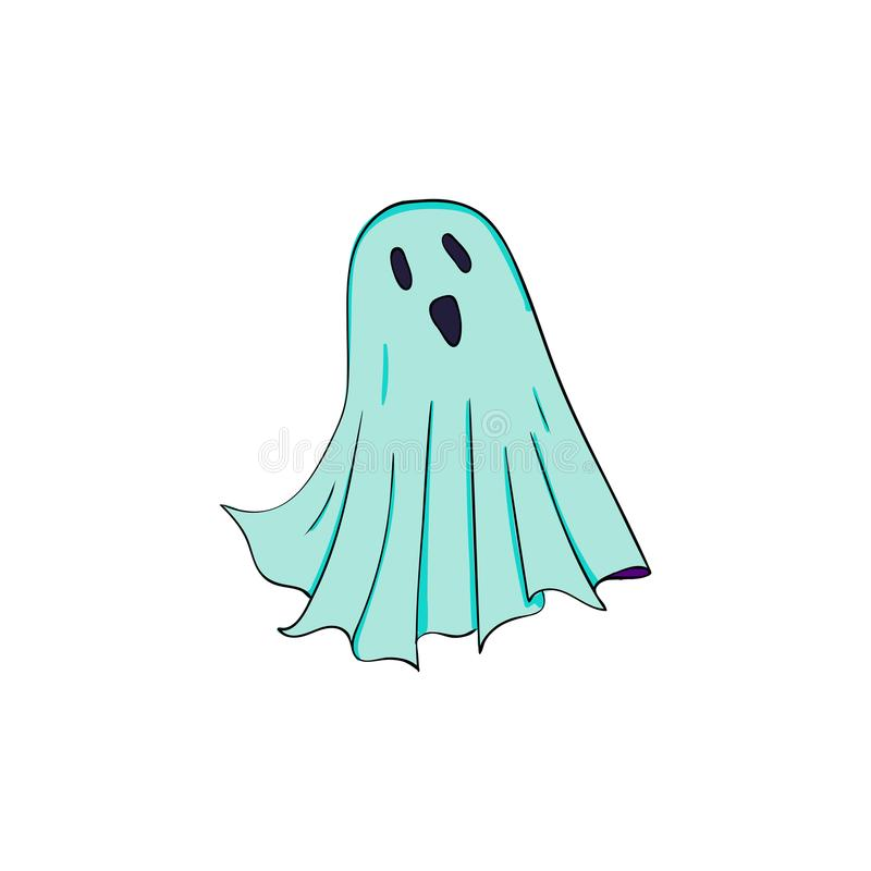 Ghost symbol of Halloween. Spook character of horror. Mystical Nightmare stock illustration