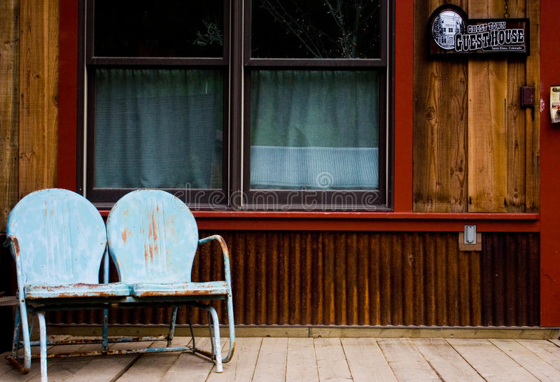 Ghost Town. The front porch of the guest house in St. Elmo, a ghost town in the Colorado Rocky Mountains. St. Elmo is one of Colorado's best-preserved ghost royalty free stock image