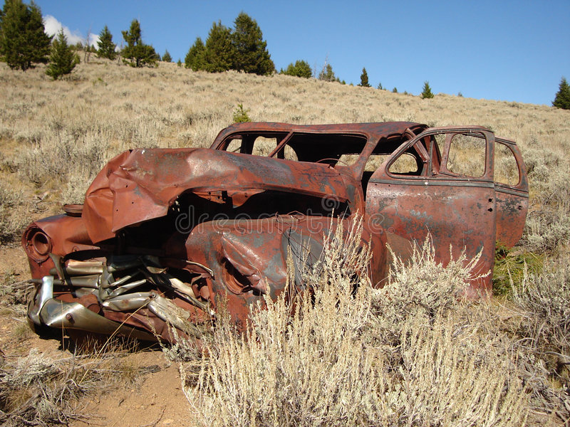 Ghost town car stock image