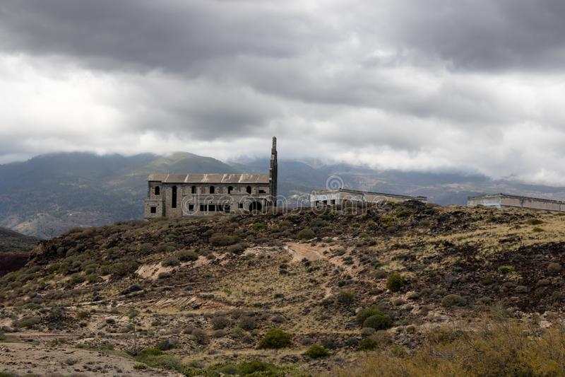 Ghost town church view Pueblo fantasma de Abades, Tenerife, Canary islands, Spain - Image stock images