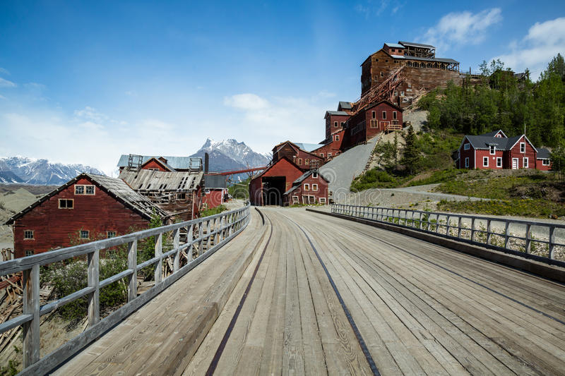 Ghost town of Kennicott, Alaska in the Wrangell-St. Elias Nation. This former mining town was abandoned in 1938 after a majority of the copper and other ore was stock photo