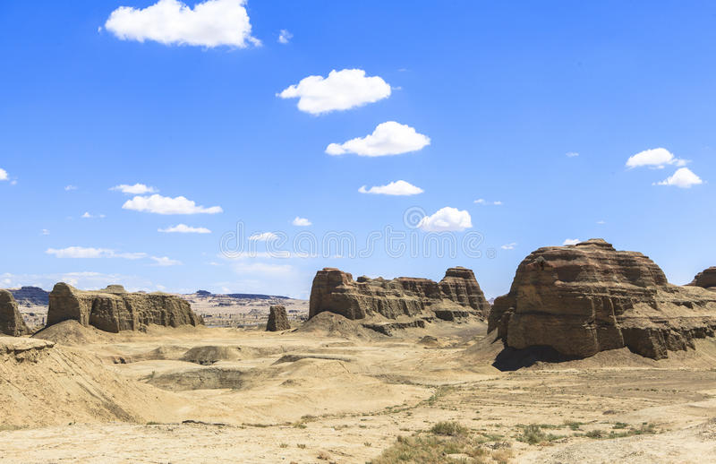 Ghost Town of the World at Xinjiang. This photo is taken in Xinjiang, China. The `Ghost Town` in the desert is situated in Wuerhe, about 100 kilometers 62 miles royalty free stock photography