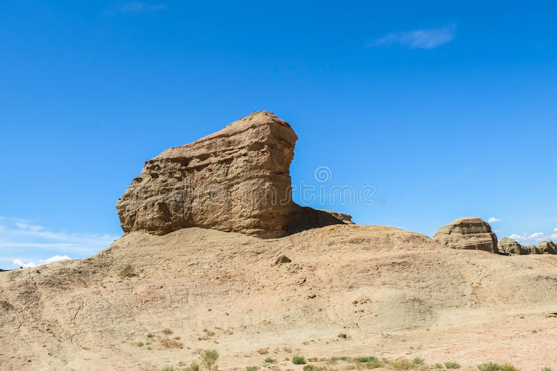 Ghost Town of the World at Xinjiang. This photo is taken in Xinjiang, China. The `Ghost Town` in the desert is situated in Wuerhe, about 100 kilometers 62 miles royalty free stock image