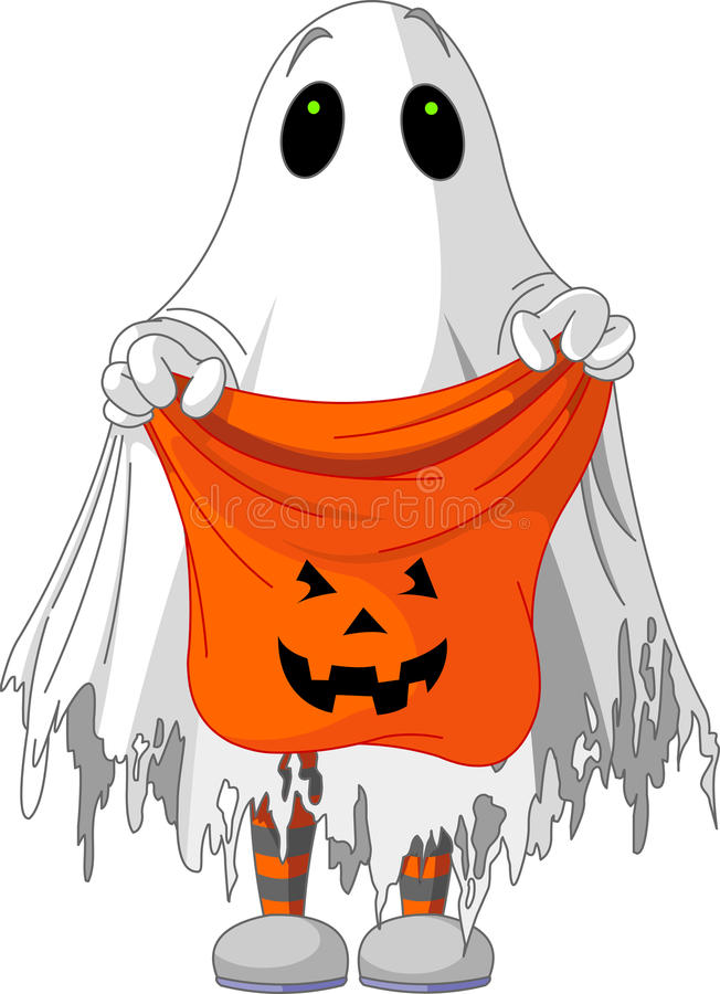 Ghost trick or treating. Child in ghost costume trick or treating