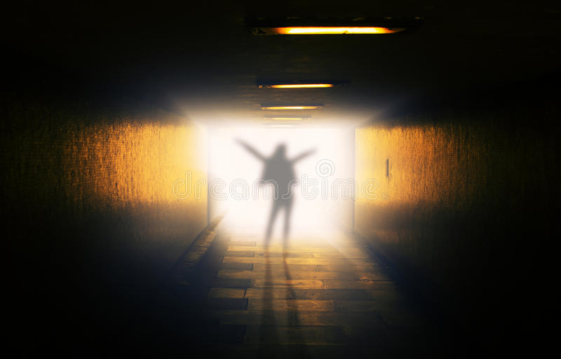 Ghost in tunnel stock photo