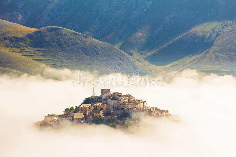 Ghost village lost in the fog royalty free stock photo