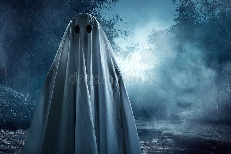 Ghost walking on the river. At night royalty free stock photo