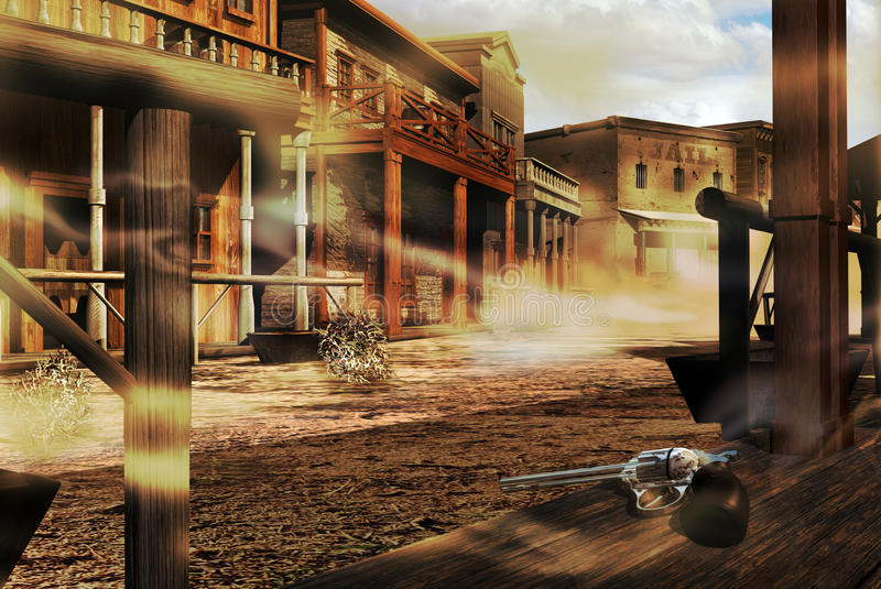 Ghost western town. An abandoned western old town, with the dust stealing by the street t. An old rusty revolver on the wooden floor