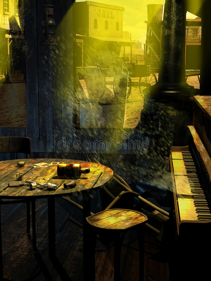 Ghost western town. Abandoned western old town, viewed from inside the saloon, where the dust flying through broken windows invade the tables and a an old stock illustration