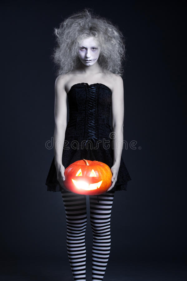 Free Ghost With Orange Pumpkin Stock Image - 16161541