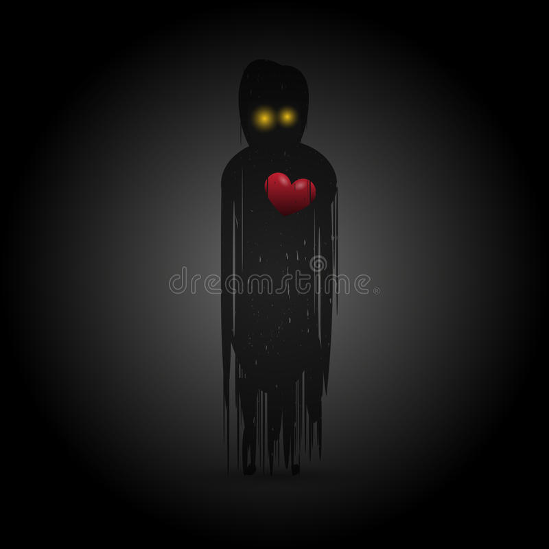 Free Ghost With Red Heart In Darkness. Vector Royalty Free Stock Photo - 87091875