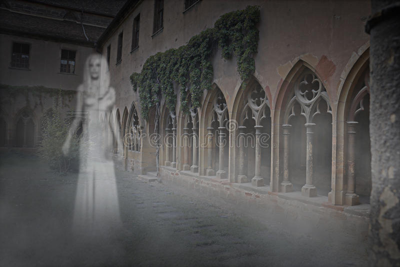 Ghost Woman in Courtyard vector illustration