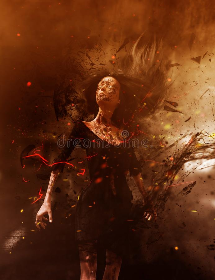 Free Ghost Woman In The Woods Stock Photography - 120937382