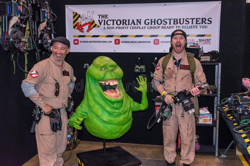 Ghostbusters cosplayers. At Comicon in Melbourne, Australia royalty free stock photography